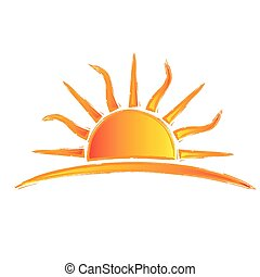 soleil, swirly, rayons, logo