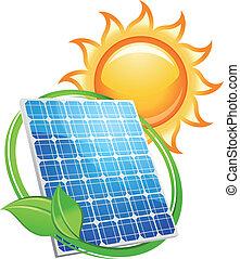 soleil, symbole, piles, panneau solaire