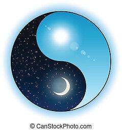 soleil, symbole, yang yin, lune