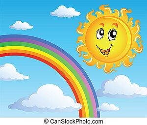 soleil, thème, 2, nuages