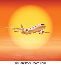 soleil, time., ciel, coucher soleil, avion