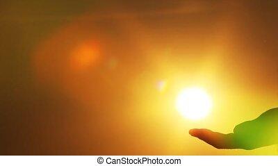 soleil, touchers, main