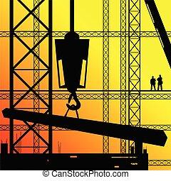 soleil, travail, ouvrier, illustration, construction, surveiller