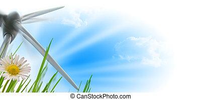 soleil, turbine, fleur, vent