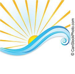 soleil, vagues, gabarit, logo