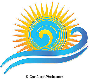 soleil, vagues, logo