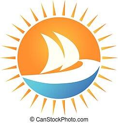 soleil, vecteur, bateau, logo