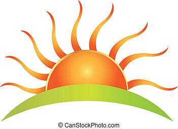 soleil, vecteur, logo