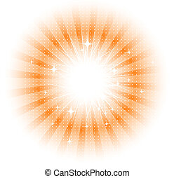 soleil, vecteur, rayons, isolé