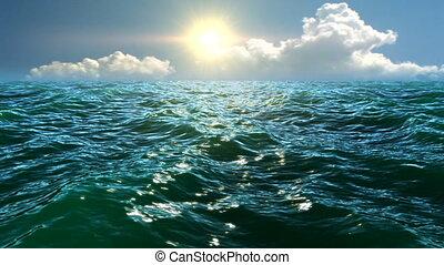 soleil, vert, mer