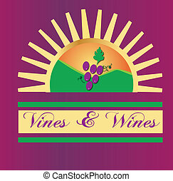 soleil, vins, vignes, logo