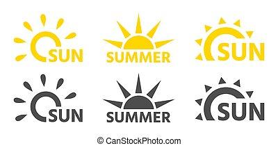 soleils, noir, logos, jaune, compagnie