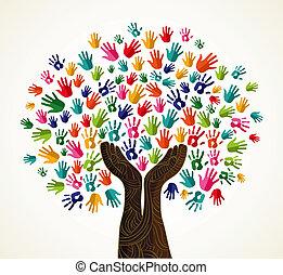 solidarité, coloré, arbre, conception