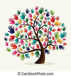 solidarité, main, coloré, arbre