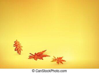 solide, feuilles, jaune, automne, fond, venir, orange
