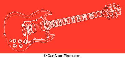 solide, guitare, contour