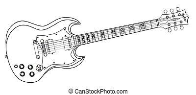 solide, guitare, dessin ligne