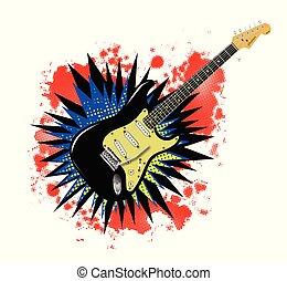 solide, guitare, explosion, dessin animé