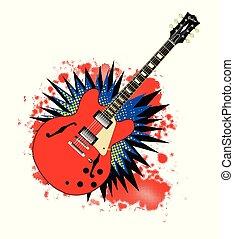 solide, guitare, explosion, semi