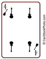 solide, guitare, noir, quatre
