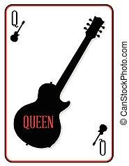 solide, guitare, reine, noir