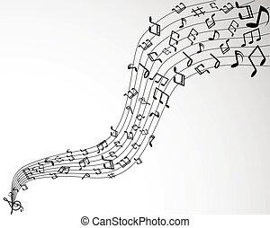 solide, notes, arrière-plan noir, musique, blanc