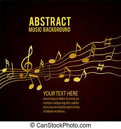 solide, or, notes, musique, fond, noir