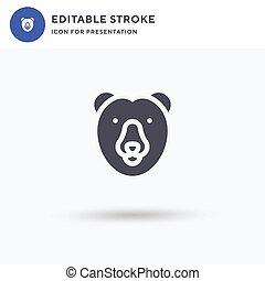 solide, vecteur, signe, plat, icône, pictogramme, blanc, logo, illustration., presentation., ours, rempli, polaire, isolé