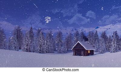 solitaire, hiver, montagne, maison, chute neige, nuit