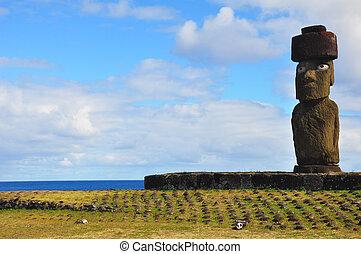 solitaire, paques, moai, île