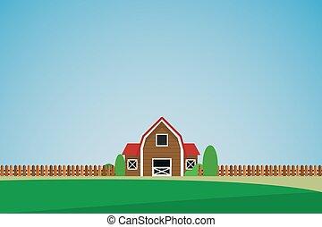 solitaire, paysage, maison, arbres, vert