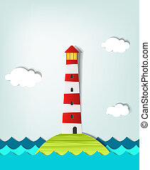 solitaire, phare, île