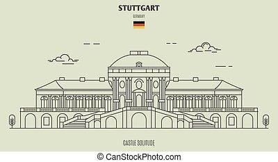 solitude, germany., stuttgart, repère, château, icône