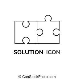 solution, réunir, icône, puzzle, concept, résolvant problème, simple, conception