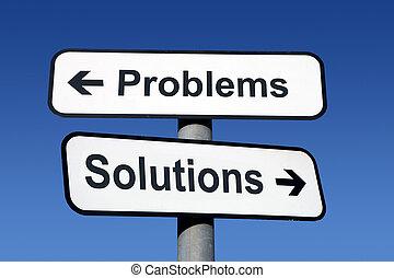 solutions., poteau indicateur, problèmes, pointage