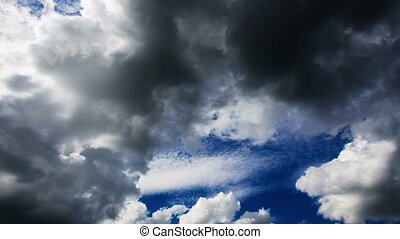 sombre, abaissement, 4k., clouds.