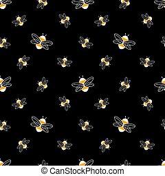 sombre, abeille, seamless, modèle