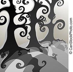 sombre, arbres, brumeux, forêt, grand, effrayant, vecteur