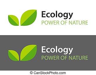 sombre, -, arrière-plan., logo, feuilles, isolé, icône, naturel, blanc, organique, product., illustration, écologie, vert