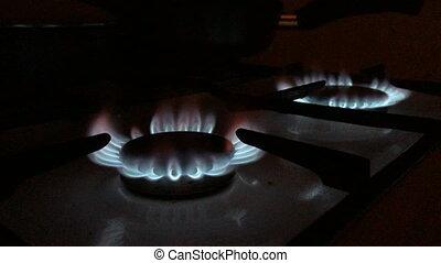 sombre, brûleurs, essence, cuisine