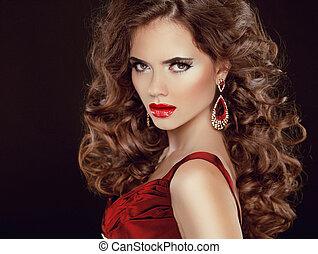 sombre, brunette, beauté, stare., lips., isolé, long, luxueux, cheveux, ondulé, fond, sexy, girl, modèle, rouges
