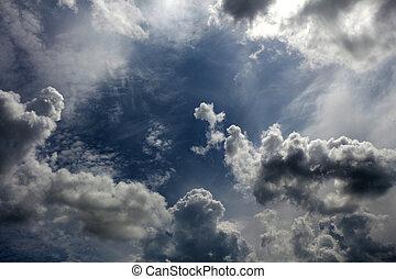 sombre, ciel obscurci, nuageux, clouds., fond, cieux