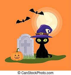 sombre, cimetière, scène halloween, chat