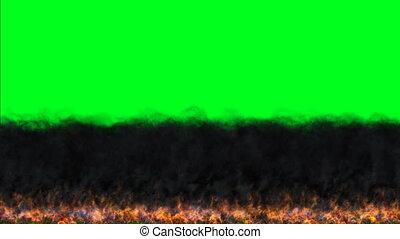 sombre, clã©, chroma, brulure, mouvement, flammes, écran, vert, brûler