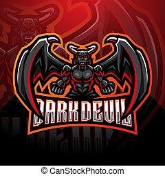 sombre, esport, conception, mascotte, diable, logo
