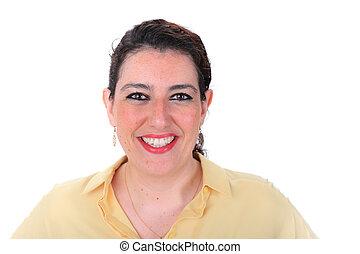 sombre, femme, normal, figure, cheveux, headshot, espagnol, en avant!