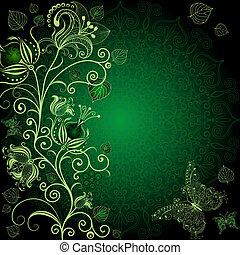 sombre, floral, cadre, vert