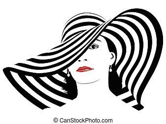 sombre, grand, -, cheveux, vecteur, girl, chapeau, rayé