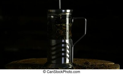 sombre, lent, verre, thé, cuisine, francais, mouvement, arrière-plan., vert, presse, théière