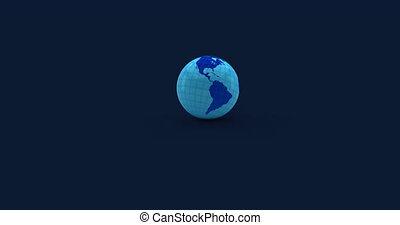 sombre, lumière, globe, arrière-plan bleu, animation